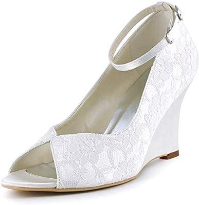 Elegantpark Wp1415 Women Lace Peep Toe Bridal Wedding Shoes Wedges