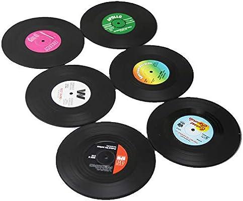 plastic /& size:10 cm x 10 cm x 0.2 cm(black) JINBOSHI 6 PCS Retro CD Record Vinyl Coasters for Coffee Product material