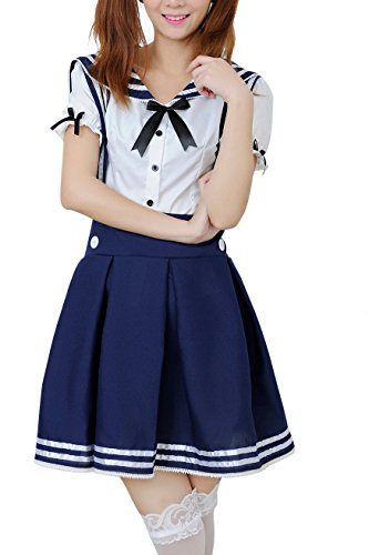 [Lemail wig Women's Sweet Maidservant Outfit Sailor Suit School Uniforms Cosplay GC12C-L] (Sailor Outfits For Ladies)