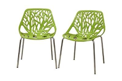Baxton Studio Birch Sapling Plastic Modern Dining Chair, Set of 2