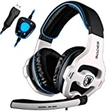 [New Updated PC Gaming Headphones]SADES SA903 USB 7.1 Stereo Surround Computer Gaming Headset with Microphone,Volume Control(White and Blue) Review