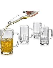 Glass Beer Stein, Traditional Beer Mug Set, Beer Mugs with Handles, Freezable Beer Glasses, Beer Mug Set of 4 - 18 Ounces