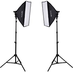 "Interfit F5 Two-Head Continuous Fluorescent Lighting Kit: Two (2) 5 Light Lamp Heads, Ten (10) 32W Fluorescent 5600K Daylight Lamps, Two (2) 20"" x 28"" Softboxes, Two (2) 7.5' Air-Cushioned Lightstands"