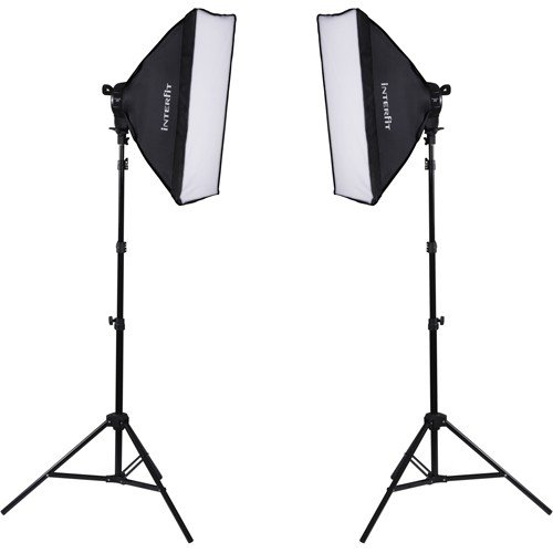 Interfit F5 Two-Head Continuous Fluorescent Lighting Kit: Two (2) 5 Light Lamp Heads, Ten (10) 32W Fluorescent 5600K Daylight Lamps, Two (2) 20'' x 28'' Softboxes, Two (2) 7.5' Air-Cushioned Lightstands by Interfit Photographic