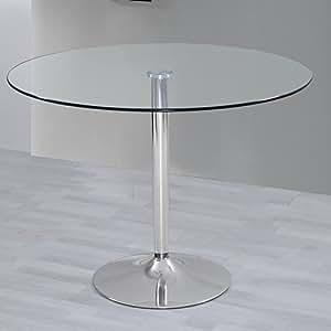 Mesa de salon comedor cocina redonda de cristal y base de for Mesa redonda cristal 8 personas