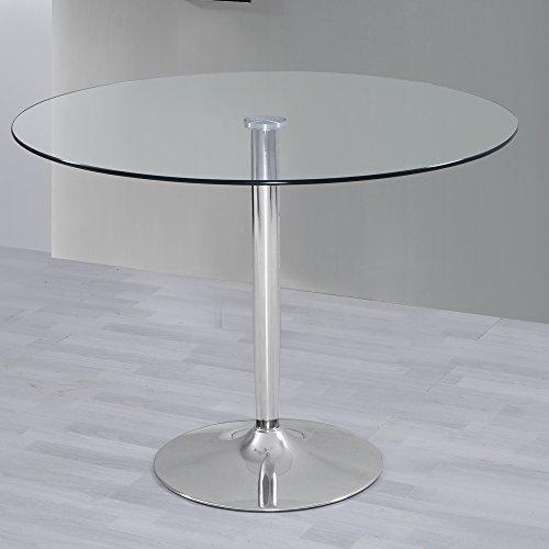 HOGAR24 Mesa de Salon Comedor Cocina Redonda de Cristal y Base de Metal Cro
