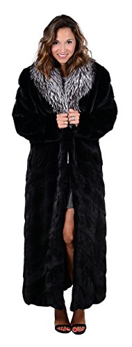 Full Skin Female Mink Fur Coat with Fox Fur Shawl Collar(Mahogany with Crystalr,S)