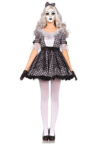 Leg Avenue Women's 3 Piece Pretty Porcelain Doll Costume, Black/White, (Scary Pretty Halloween Costumes)