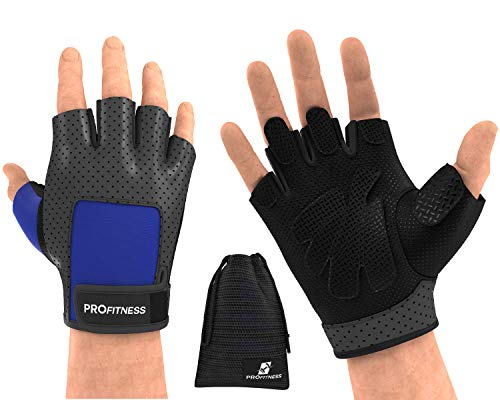 Workout Gloves Rogue Wrist Wraps Gloves for Gym Weighted Gloves for Women Hand Grips Hole Hand Grips Training Gloves Climbing Gloves Weight Lifting Gloves Men Fitness glo (Large, Black/Blue)