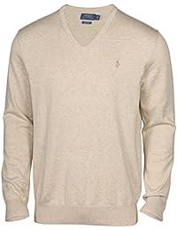 Men's Pima Cotton V-Neck Pony Sweater-Natural