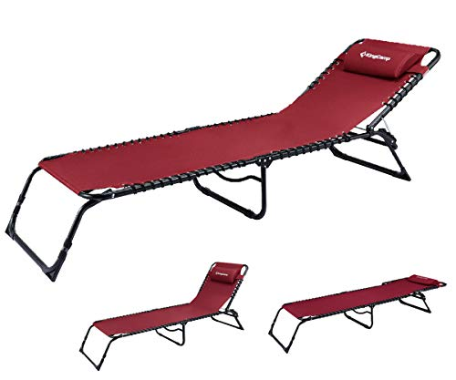 (KingCamp Chaise Lounge Folding Cot Camping Adjustable Recliner Sunbathing Beach Pool Bed Cot with Pillow (Claret_RED))