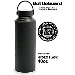 40oz Black BottleGuard TPU bottle sleeve protector for Hydro Flask, Lifeline FiftyFifty & Takeya ThermoFlask stainless steel bottles (Black, 40oz)