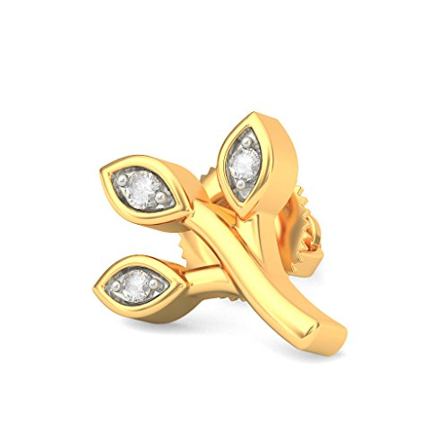 14 K jaune Or 0,04 CT TW White-diamond (IJ | SI) Boucles d'oreille à tige