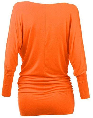 LemonGirl Women's Slim T-Shirt Pullover Blouse Tops Orange
