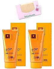 SoltreeBundle 2pcs Korean Professional 365 Sun Cream Sun Block 2.37 Oz/70ml SPF50+ / PA+++ with SoltreeBundle Oil Blotting Paper 50pcs