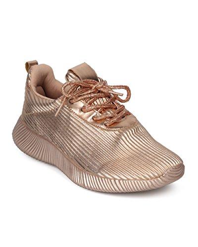 Alrisco Femmes Métallisé Jogger Sneaker - Texture Striée Poids Léger Sneaker - Gym Athlétique Travailler Sur Casual Sneaker Tous Les Jours - Hc93 Par Qupid Collection Rose Gold Metallic