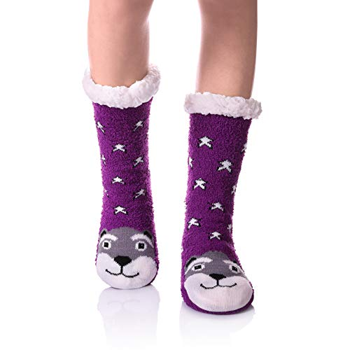 Womens Super Soft Cute Cartoon Animal fuzzy Cozy Non-Slip Winter Slipper Socks (Stars Dog) ()