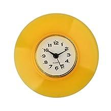 haoun Kitchen Bathroom Wall Clocks Waterproof Suction Cup Adsorption Type - YELLOW