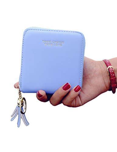 Amarte Women's Small Leather Zip Wallet Coins ID Cards Holder Bifold Light (Zip Id Case)