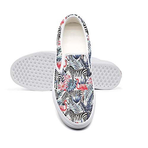 (RivasPsm Women's Slip-on Loafer Tropical Flower and Pink Flamingo Casual Sneaker Flat Walking Shoes Round Toe)