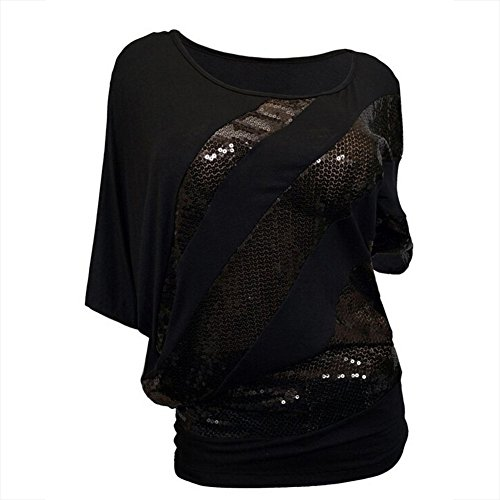 Chuangkeying Women Loose T-Shirt Summer Casual Round Neck Sequins Bat Short Sleeves Tops(Black)-L