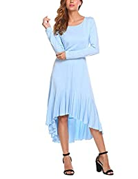 HOTOUCH Women's High Low Scoop Neck Loose Swing Casual Midi Dress