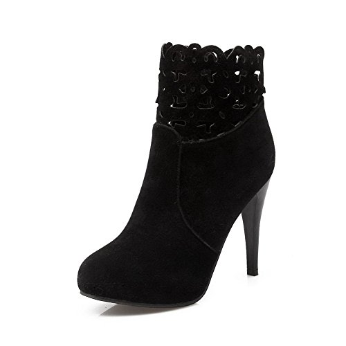 AmoonyFashion Womens Solid High Heels Closed Round Toe Imitated Suede Zipper Boots Black 4ZR1M
