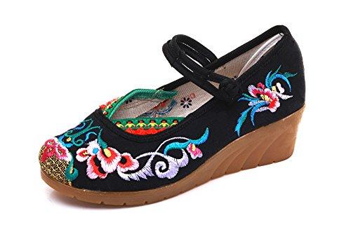 Kinesisk Jane Lazutom Mary Vintage Kjole Prom Kvinner Svart Dame Broderi Stil Sko Kilehæl TSwqcUatw8