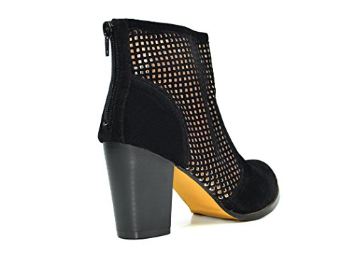 Heel Cutout Ankle Chunky Emery Bootie Chloe Women's Chase Black 1 amp; fqYTwPO