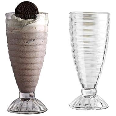 Circleware Shake Solar Ring Footed Glass Ice Cream Sundae/milk Shake Delis Split Dessert Glasses/dish, Set of 4, 13.19 Ounce Each, Glassware Serveware Drinkware Dessert/ Drinking Glasses/cups