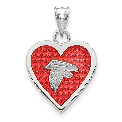 FB Jewels Solid 925 Sterling Silver Atlanta Falcons Enameled Heart Pendant