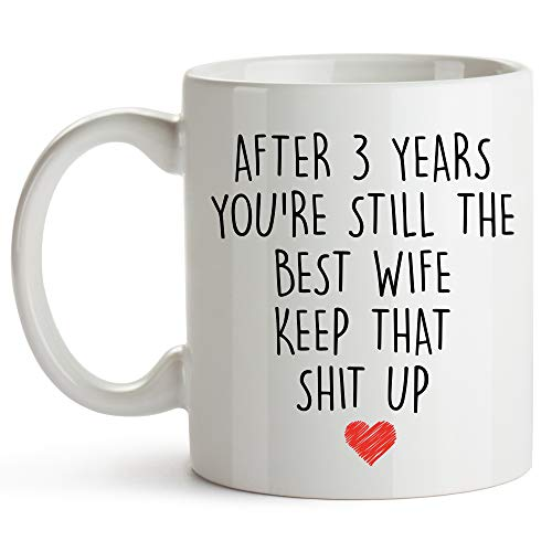 YouNique Designs 3 Year Anniversary Coffee Mug for Her, 11 Ounces, 3rd Wedding Anniversary Cup For Wife, Three Years, Third Year, 3rd Year