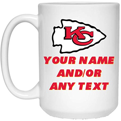 (Custom Personalized Kansas City Chiefs Coffee Mug Chiefs Logo Mug 15 oz White Ceramic Coffee Cup Great for Tea and Hot Chocolate NFL AFC Football Perfect Gift for any Chiefs Fan)