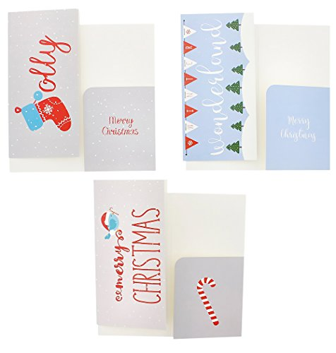 Christmas Greeting Cards - 36 Pack Assorted Winter Holiday Christmas Cards - 6 Winter Holiday Designs, Ornaments, Polar Bears, Stockings, Snowflakes, Merry Christmas 4 x 8 Envelopes Included by Juvale Photo #3