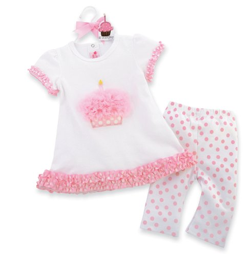 Mud Pie Tiny Dancer Cupcake Tunic And Leggings Set, Pink/White, 12 18 Months (Cupcake Halloween Costume For Toddler)