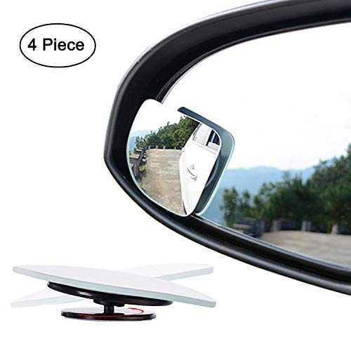 Fan Shape 360 Degree Rotate Sway Adjustabe Blind Spot Mirrors, Ampper HD Glass Convex (Low Curvature) Frameless Stick On Lens (Pack of -