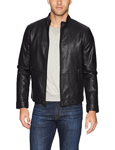 Dockers Men's The Dylan Faux Leather Racer Jacket, Black, Small