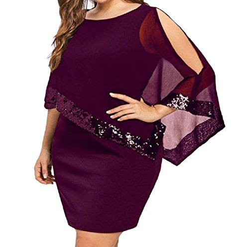 Women Glitter Splicing Sized Red Dress Wine Over Sequin Cold Shoulder Coolred Irregular aAwBA