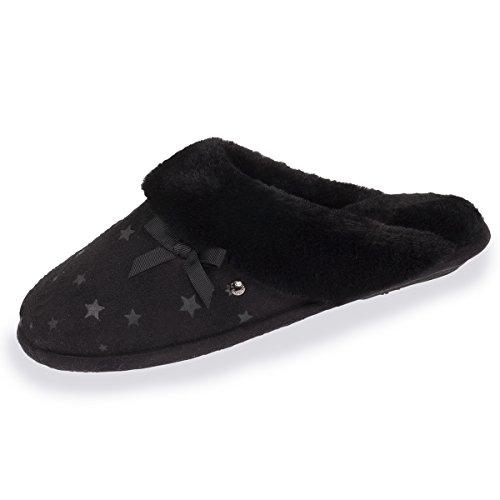 Mules étoiles Chaussons Isotoner Noir Femme f5tqwCxt