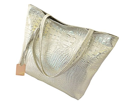 (M2s⁺ Women's Leather Crocodile Snake Tote Large Satchel Purse Work Business School Travel (Silver) )