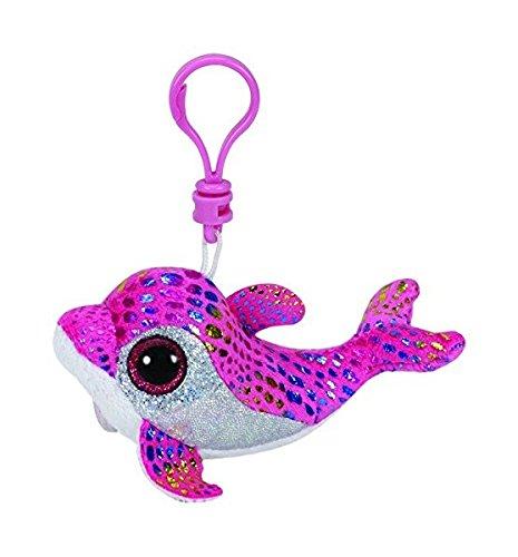 Ty Beanie Boo Key Clip Pink Dolphin Sparkles