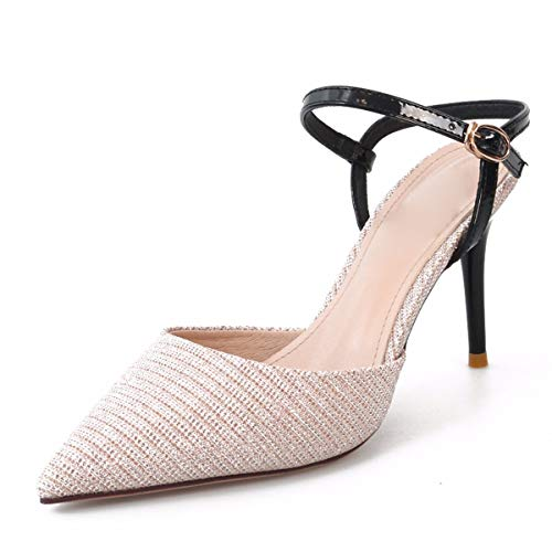 Sandals Sexy Summer Click Thin Pointy Simple Single Women'S Shoes Comfortable champagne Fashion SFSYDDY dqE5wx8dC