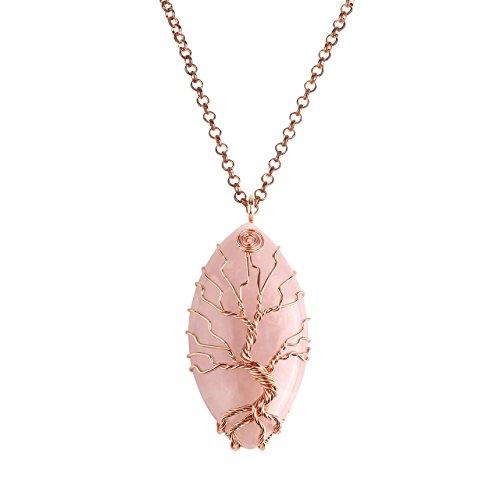 Jovivi Vintage Tree of Life Copper Wrapped Marquise Shape Natural Rose Quartz Gemstones Pendant Necklace, (Rose Quartz) ()
