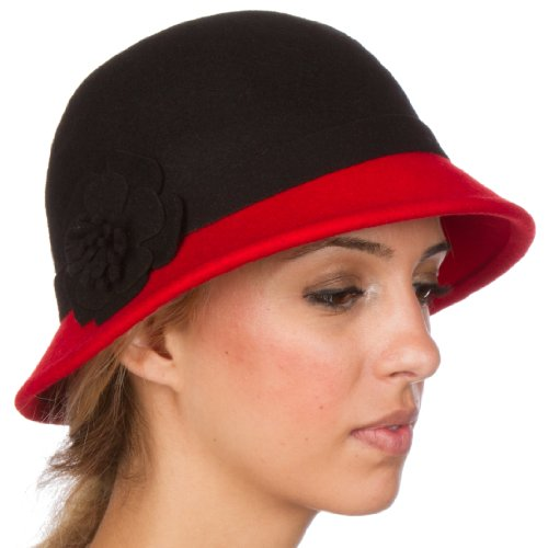 Sakkas 60M Sophia Vintage Style Wool Cloche Hat - Black / Red - One - Style Sophias
