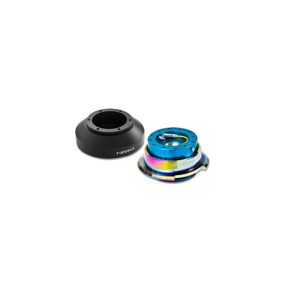 NRG SRK 150H+280NB MC, NRG Innovations Steering Wheel 6 Hole Aluminum Ball Bearing Short Hub Adapter with Gen 2.8 Neo Chrome New Blue Quick Release SRK 150H