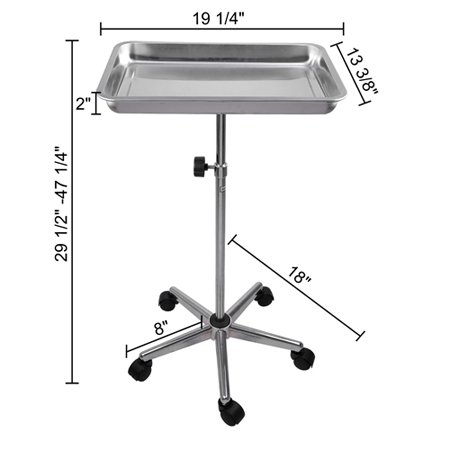 Koval Inc. Tattoo Body Piercing Instrument Rolling Mayo Stand - Chrome Center Post Deep Tray