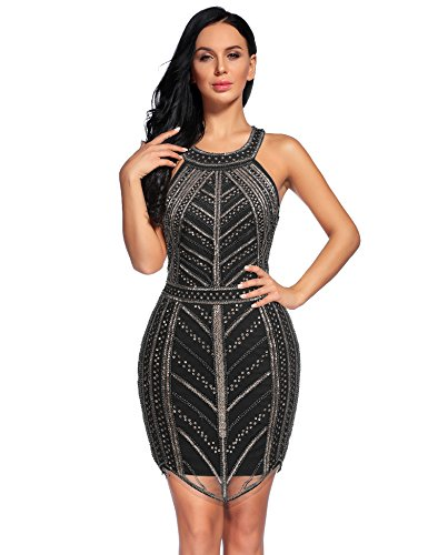 Sexy Flapper Dresses (Flapper Girl 1920s Vintage Sleeveless Sequin Gatsby Sexy Cocktail Flapper Dress (M, Black))
