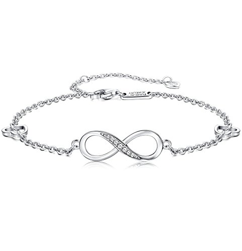 FUNRUN JEWELRY 925 Sterling Silver Infinity Bracelets and Anklet Bracelets for Women Girls 4-Level Adjustable Length Gift for Mother's Day (Anklet) by FUNRUN JEWELRY