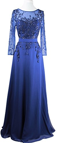 Meier Women's Embroidery Beaded Long Sleeve Mother of the Bride Evening Dress