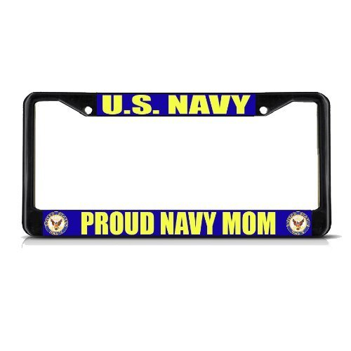 Unique License Plate Frame Tag Holder U.S. Navy Proud Navy Mom Black Auto Tags Plates